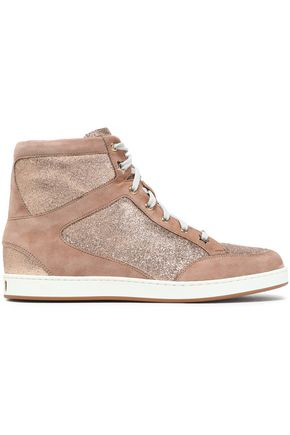 JIMMY CHOO Glittered suede high-top sneakers