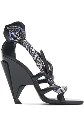 JIMMY CHOO Kalypso printed twill-trimmed leather sandals