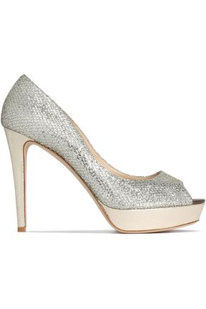 JIMMY CHOO Dahlia glittered mesh and snake-effect leather platform pumps