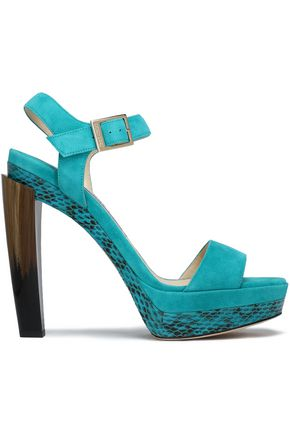 JIMMY CHOO Dora suede, elaphe, and horn platform sandals