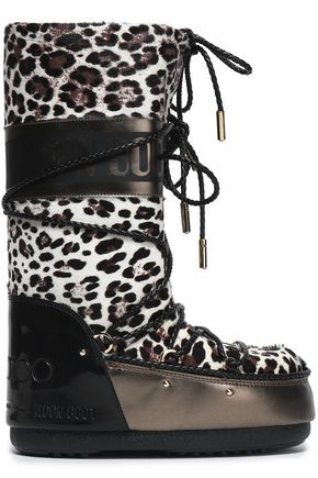 JIMMY CHOO Lace-up leopard-print calf hair snow boot