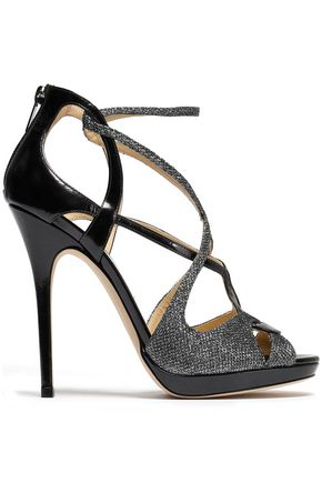 JIMMY CHOO Vermeil cutout glittered mesh and glossed-leather sandals
