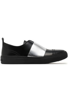 JIMMY CHOO Boston metallic-trimmed leather slip-on sneakers