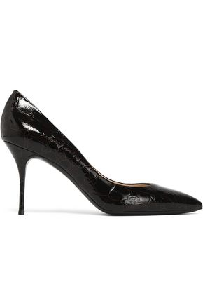 CASADEI Textured patent-leather pumps