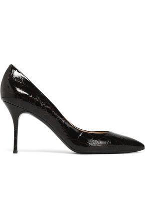 CASADEI Croc-effect patent leather pumps