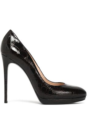CASADEI Textured patent-leather platform pumps