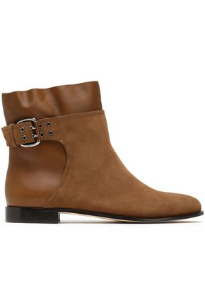 JIMMY CHOO Major buckled suede and leather ankle boots