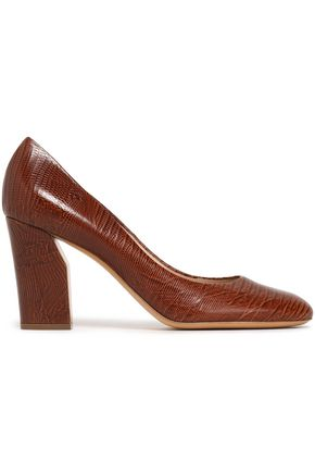 CASADEI Lizard-effect leather pumps