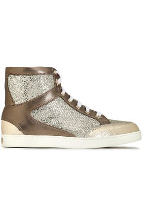 JIMMY CHOO Tokyo glittered mesh and metallic leather high-top sneakers