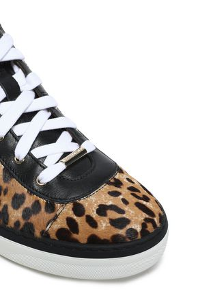 JIMMY CHOO Bells leopard-print calf hair and leather sneakers