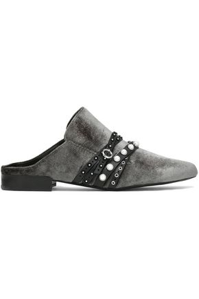 3.1 PHILLIP LIM Louie studded leather-trimmed velvet slippers