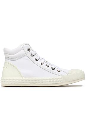 JIMMY CHOO Berlin canvas and embossed leather high-top sneakers