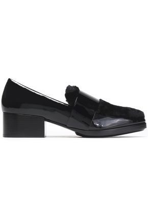 3.1 PHILLIP LIM Quinn shearling-paneled patent-leather loafers