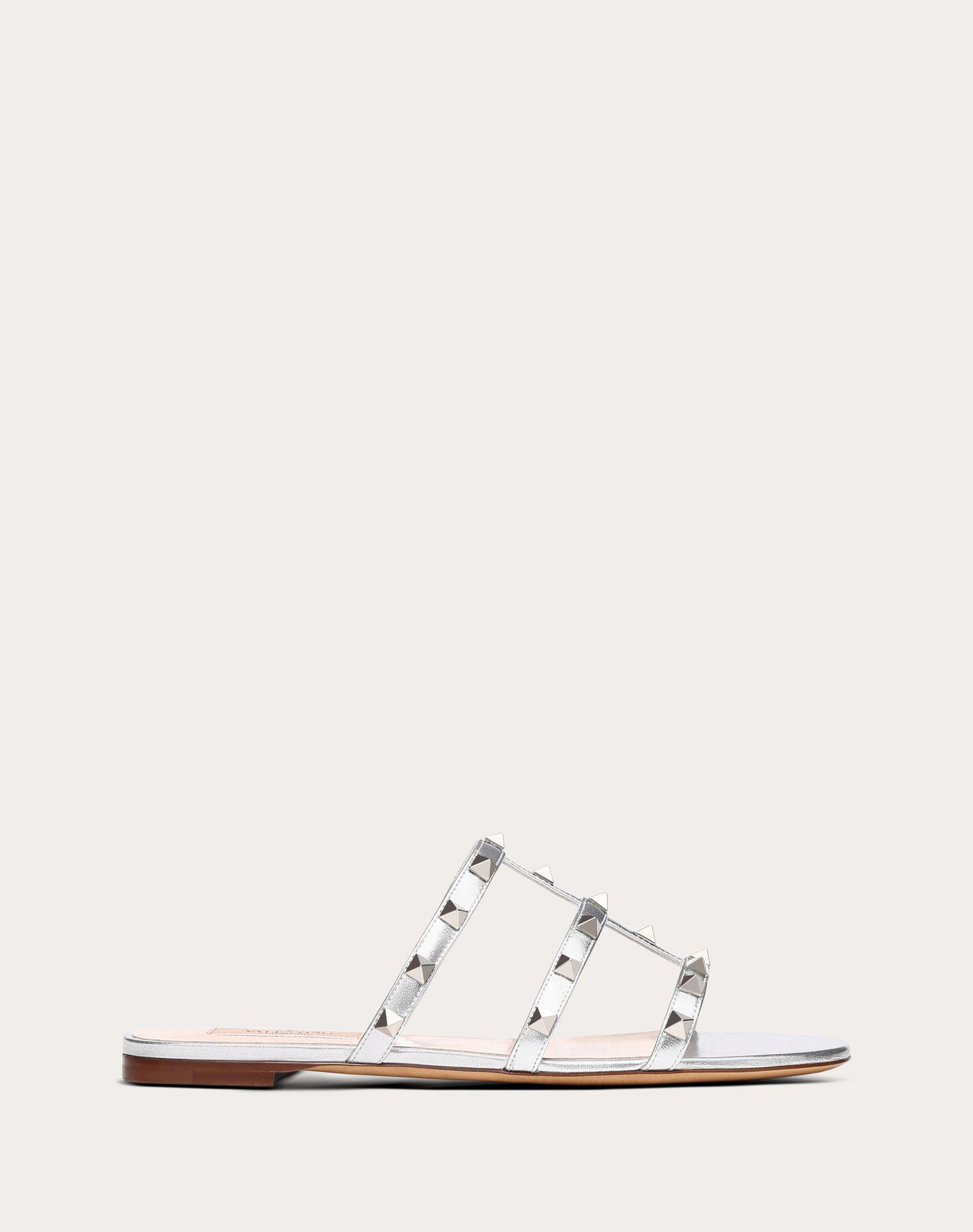 Rockstud Metallic Flat Slide Sandal