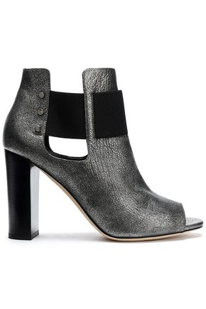 JIMMY CHOO Cutout metallic cracked-leather ankle boots