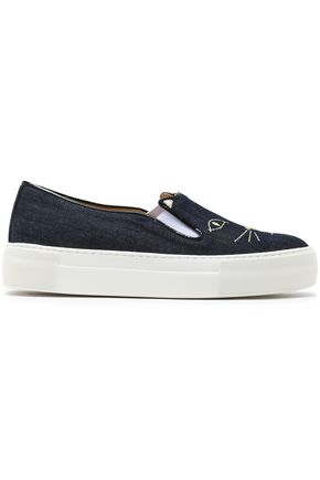 CHARLOTTE OLYMPIA Embroidered denim sneakers
