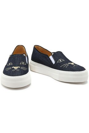 CHARLOTTE OLYMPIA Cool Cats embroidered denim platform slip-on sneakers