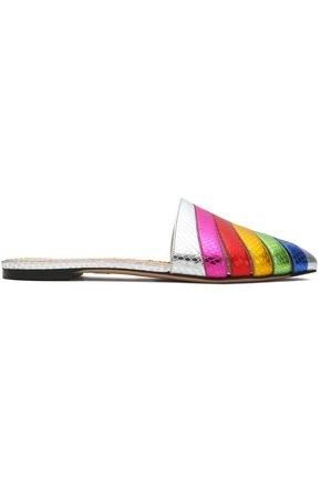 CHARLOTTE OLYMPIA Metallic color-block cutout snake-effect leather slippers
