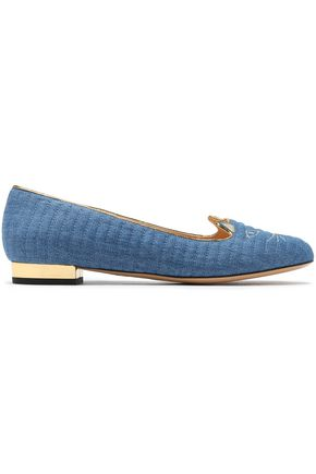 CHARLOTTE OLYMPIA Embroidered quilted denim flats