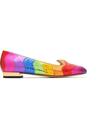 CHARLOTTE OLYMPIA Metallic color-block embroidered snake-effect leather loafers