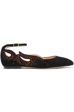 12c5b5337eea1e CHARLOTTE OLYMPIA Feelin  Hot Hot Hot crystal-embellished cutout suede point -toe flats