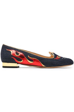 CHARLOTTE OLYMPIA Metallic snake-effect leather-appliquéd embroidered  denim flats