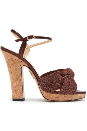 CHARLOTTE OLYMPIA Farrah knotted Lurex and metallic leather cork platform sandals