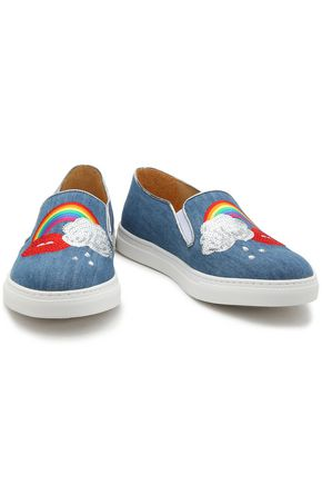 CHARLOTTE OLYMPIA Alex embellished denim slip-on sneakers