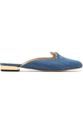 CHARLOTTE OLYMPIA Metallic embroidered denim slippers