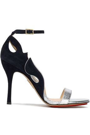 CHARLOTTE OLYMPIA Cutout suede and metallic snake-effect leather sandals