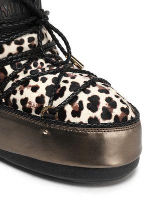 JIMMY CHOO Leopard-print calf hair snow boots