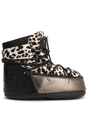 JIMMY CHOO Leopard-print calf hair snow boots