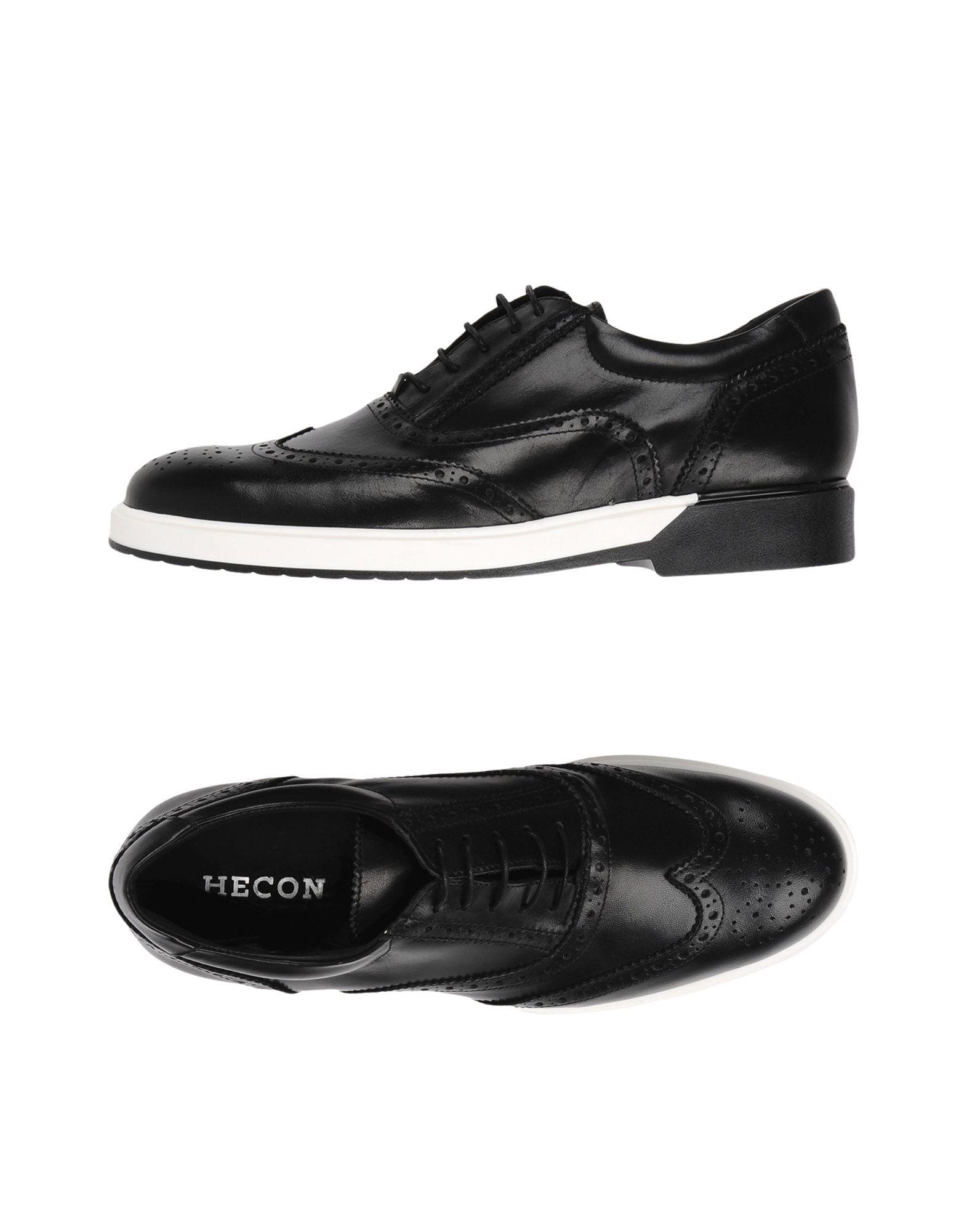 《送料無料》HECON メンズ レースアップシューズ ブラック 42 牛革(カーフ)