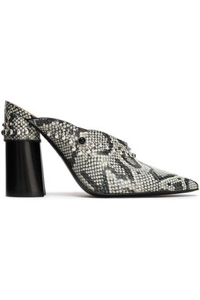 3.1 PHILLIP LIM Studded snake-effect leather mules