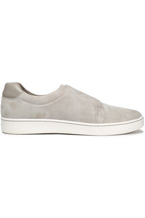 DKNY Leather-trimmed suede slip-on sneakers