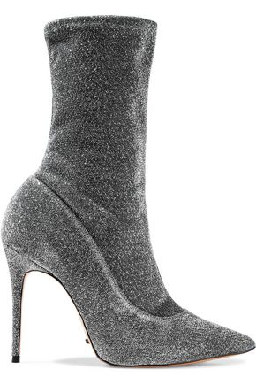 SCHUTZ Mislane metallic stretch-knit ankle boots