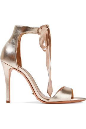 SCHUTZ Rene suede-trimmed metallic leather sandals