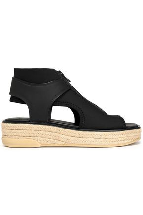 DKNY Cutout rubber-paneled canvas espadrille sandals