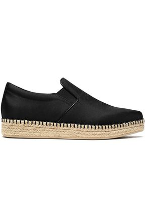 Dkny Woman Textured Satin Espadrille Sneakers Black Size 7 DKNY EVF4k