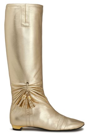 ROGER VIVIER Stivale tasseled ruched metallic leather boots