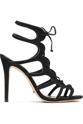 SCHUTZ Laurine lace-up cutout nubuck sandals