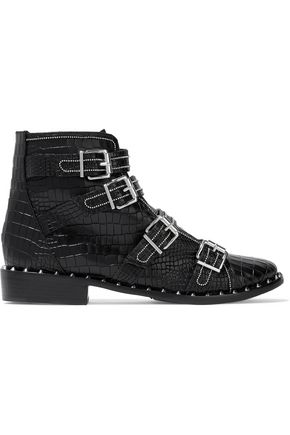 SCHUTZ Darcey buckled croc-effect leather ankle boots