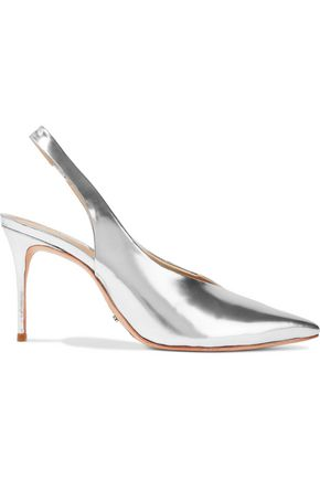SCHUTZ Phisalis mirrored-leather slingback pumps