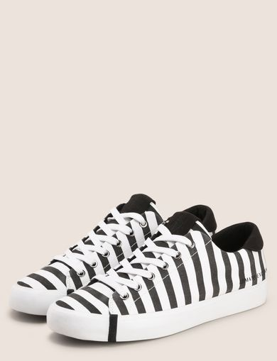 STRIPED CANVAS LOW-TOP SNEAKER