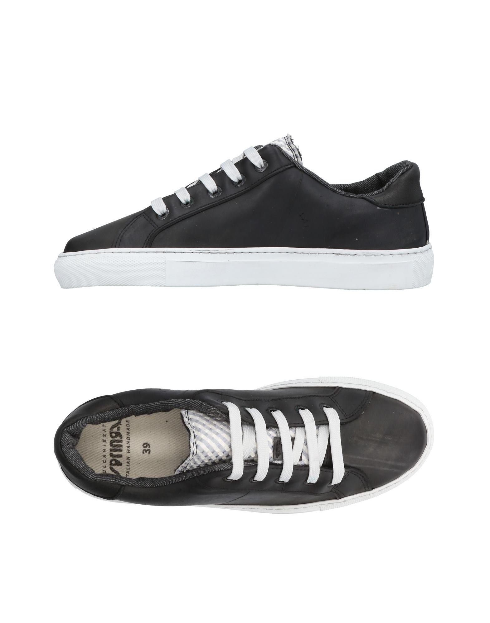 《送料無料》SPRINGA メンズ スニーカー&テニスシューズ(ローカット) ブラック 41 革 / 紡績繊維