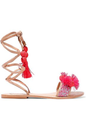 SCHUTZ Lace-up embellished leather sandals