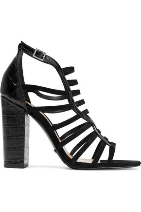 SCHUTZ Kaye croc-effect leather and nubuck sandals