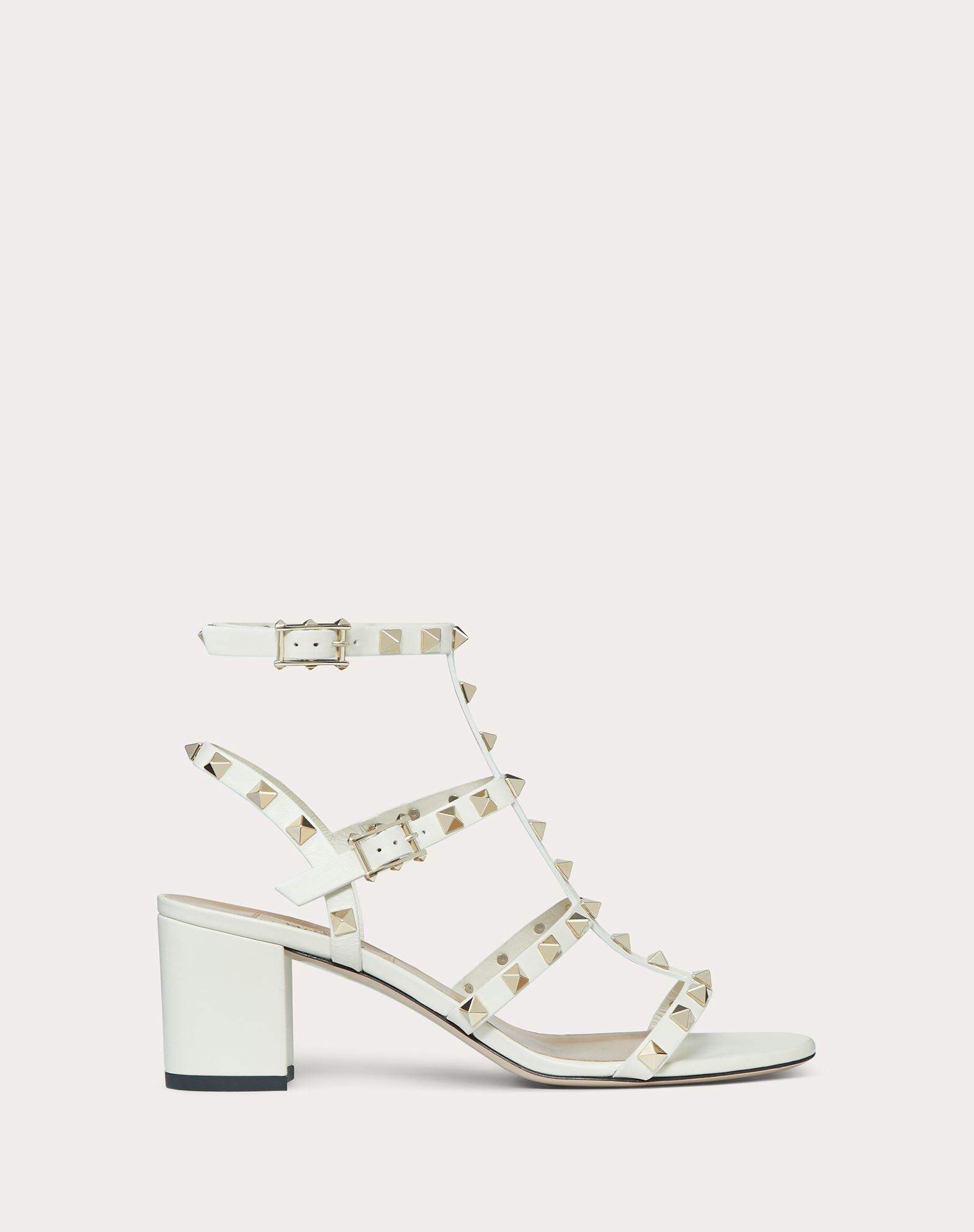 Sandalo Rockstud in vitello con cinturini 60mm