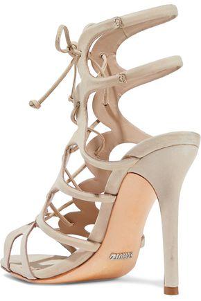 SCHUTZ Laurine lace-up cutout leather sandals