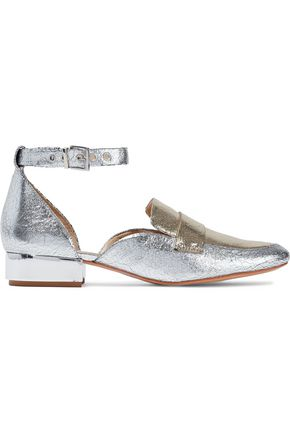 SCHUTZ Moka metallic two-tone cracked-leather loafers